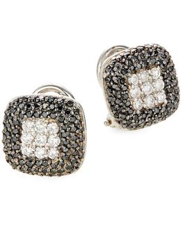 14k White Gold 0.96tcw Diamond And Black Diamond Stud Earrings