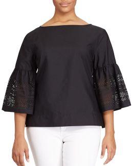 Plus Laser-cut Cotton-blend Shirt