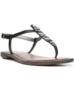 Grace Leather Flat Sandals