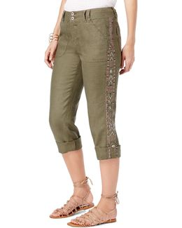 Linen Embroidered Cargo Pants