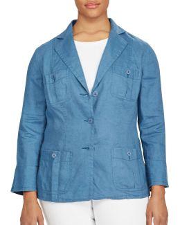 Plus Linen Three-button Blazer