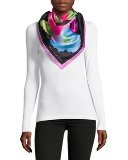 Floral Square Silk Twill Scarf