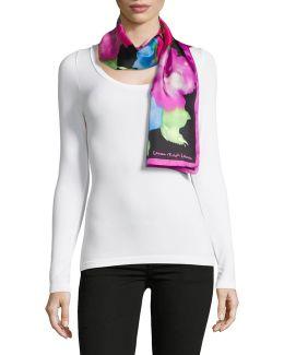 Floral Oblong Silk Twill Scarf