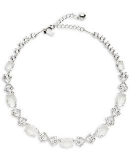 Crystal Cascade Bow-link Necklace