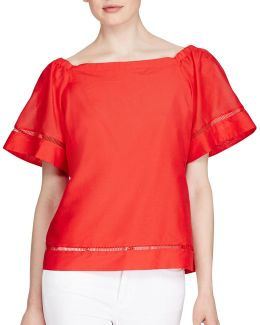 Petite Cotton-silk Off-the-shoulder Top
