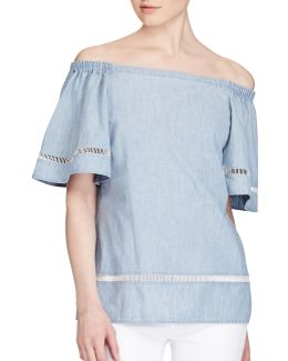 Petite Chambray Off-the-shoulder Top