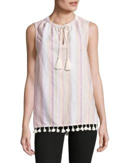 Sleeveless Top With Tassels