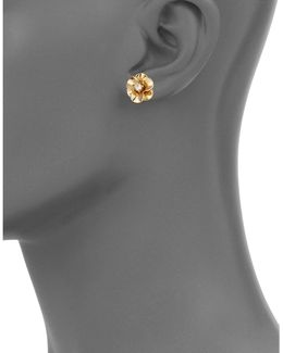 Shine On Goldtone Flower Stud Earrings