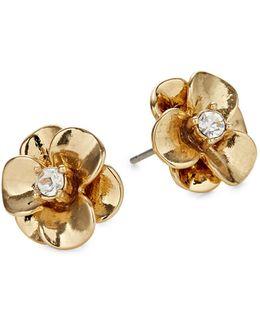 Shine On Goldtone Flower Stud Earrings