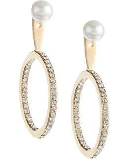 Shine On Faux Pearl Drop Hoop Jacket Earrings