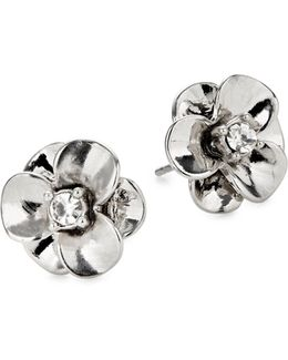 Shine On Silvertone Flower Stud Earrings