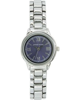 Analog Metals Collection Blue Dial Silvertone Bracelet Watch
