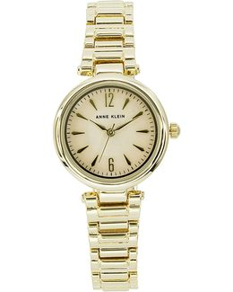 Analog Metals Collection Mother-of-pearl Dial Goldtone Bracelet Watch