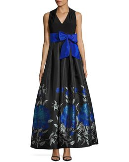 Pleated V-neck Gown With Floral Ball Skirt