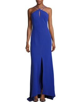Strappy Halter Keyhole Gown