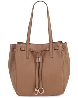 Drawcord Ring-tab Pebble Leather Tote