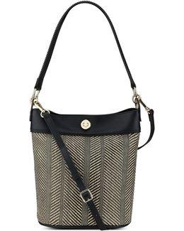 Belynda Herringbone Bucket Bag