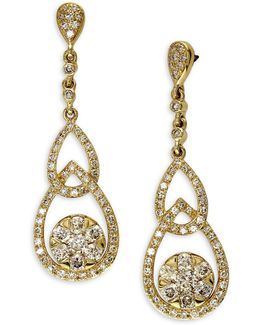 Diamond, 14k Yellow Gold Interlock Drop Earrings