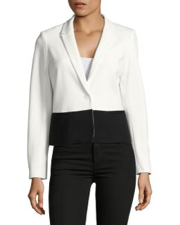 Colourblock Single-button Blazer