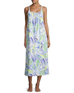 Plus Ruched Cotton Jersey Maxi Nightgown