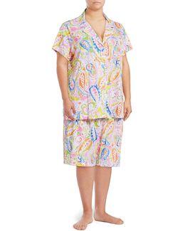 Plus Cotton Jersey Bermuda Pyjama Set
