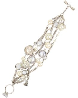 Faux Pearl Multi-row Toggle Bracelet