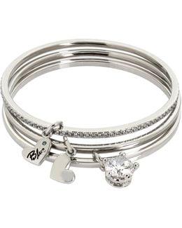 Stone Crown Multi-charm Skinny Bangle Bracelet-set Of 3