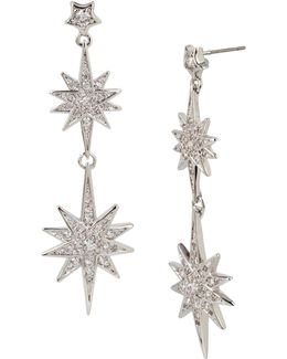Pave Star Double Drop Earrings