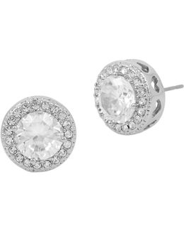 Halo Round Stud Earrings
