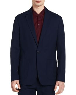 Fitted Cotton Pique Blazer