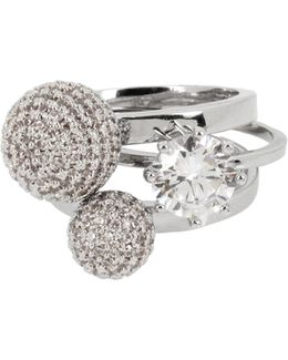 Three-piece Pave Ball And Stone Ring Set