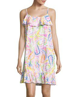 Printed Flounce Hem Sleep Dress