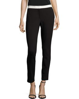 Colourblock Waist Slim Pants