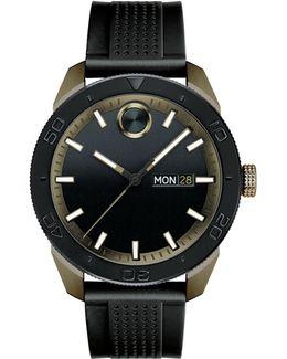 Analog Bold Sport Black Ip Silicone Strap Watch