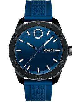 Analog Bold Sport Blue Ip Silicone Strap Watch