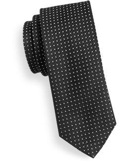 Slim Square Dot Silk Tie