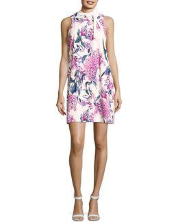 Floral Tie Neck A-line Dress