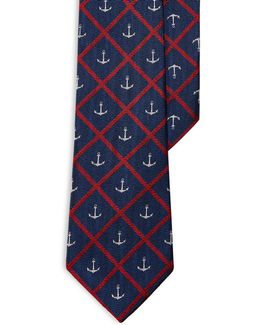 Anchor Windowpane Silk Tie