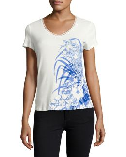 Printed V-neck Trim Tee