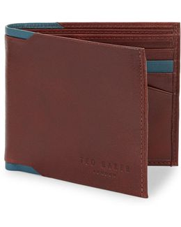 Boxed Contrast Leather Bifold Wallet