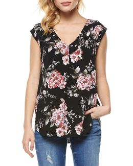 Floral-print Woven Top