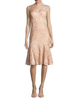 Sequined Lace Flounce-hem Dress