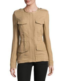 Military Linen-blend Jacket