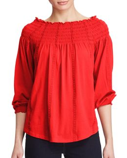 Plus Quarida-knit Smocked Off-the-shoulder Top