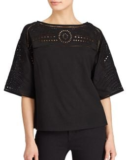 Plus Eyelet-embroidered Jersey Top