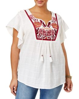 Plus Traveler Embroidered Top