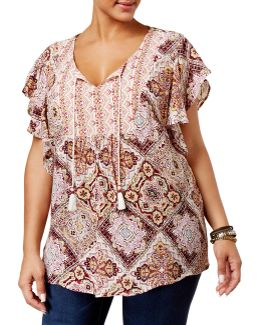 Plus Flutter Sleeve Peasant Top