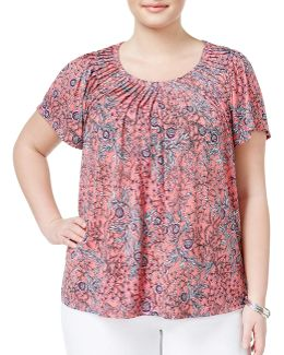 Plus Plus Floral-print Pleated Top