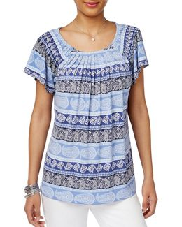Pleated Paisley-print Top