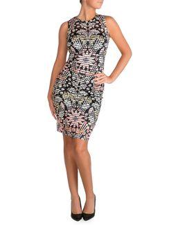 Floral-print Striped Bodycon Dress